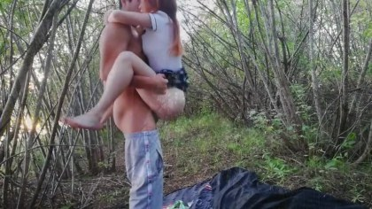 Man in the woods hammer student enjoying sex and nature